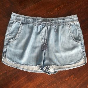 Loft Outlet Chambray Drawstring Shorts Sz L